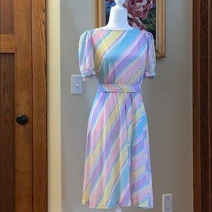 Gorgeous vintage striped pastel dress Large
